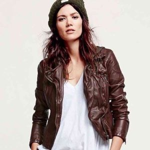 Free people red leather jacket